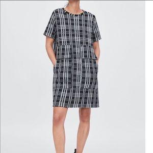 NWT Zara Jacquard Check Dress